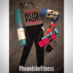 It looks like #shefitness received quite the birthday haul this year in her fitness bag portion of gifts. New foam roller, yoga mat, stringer shirt, racing socks, compression socks, and pro compression tights. Somebody is decked out for the 2015 race reason this year! Which fitness gifts or apparel are you looking forward to for this years' birthday or warm weather fitness season? #compressiontights #yogamat #compressionsocks #runninggear