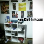 The in-home workout room is starting to come together after the addition of a nine cube shelving unit. As nice as it is to have all the equipment at the gym, sometimes it is nicer to be able to do it all in the comfort of your own home. would you to prefer to work out in a sweaty gym with all the equipment or in the comfort of your own home? Happy Friday everyone! #homegym #shelvingunit #cubicleshelves #gymshelves #shelvingstorage #heandshefitness