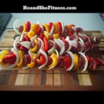 Fresh grilled #kabob skewers with steak, bell peppers, and onions. Diet is back on point for @heandshefitness – fit pic reveal pics from post-Vacation food binge to come soon. Get ready, summer 2015. #fitnessfood #fitnesscouples #foodporn #failureisnotanoption
