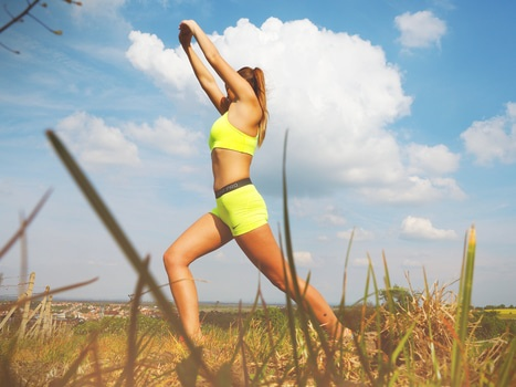 woman weight loss stretching