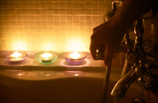Relaxation Tips candles lit