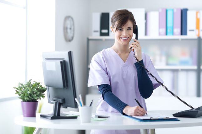 medical receptionist service lady worker