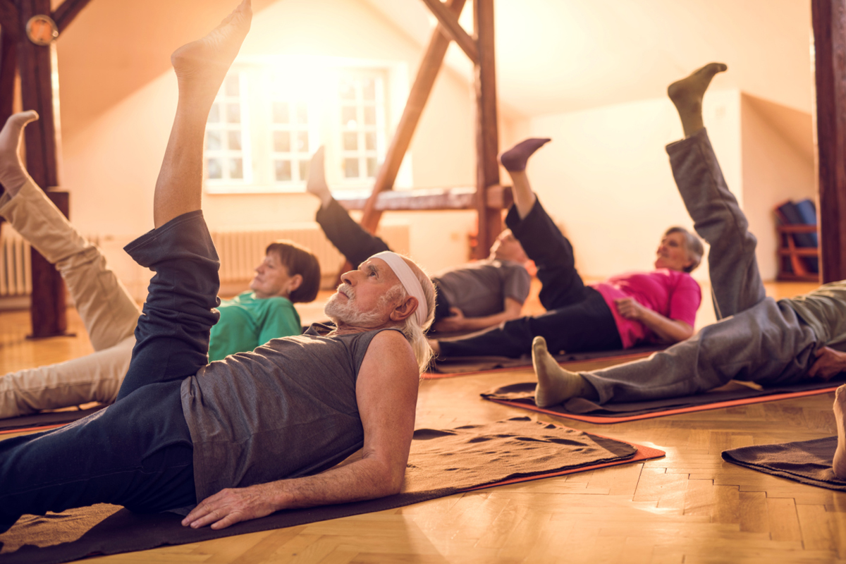 elderly people regular exercise stretching