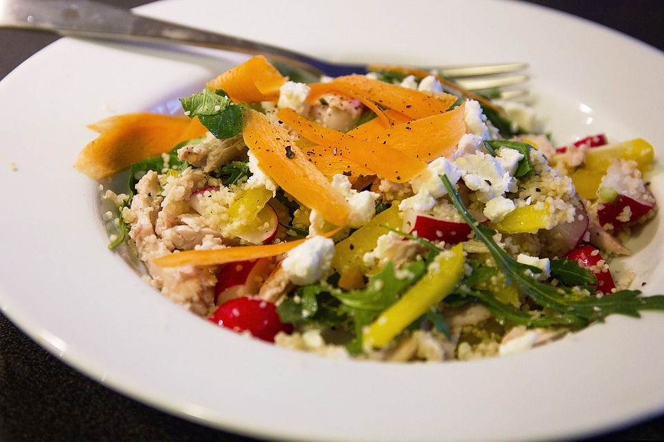 Losing Weight nice salad with greens and peppers