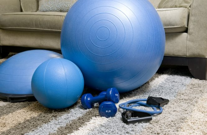 Small Home Gym swiss ball