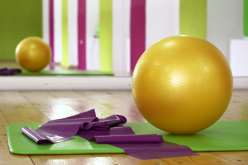 Small Home Gym ball and yoga mat