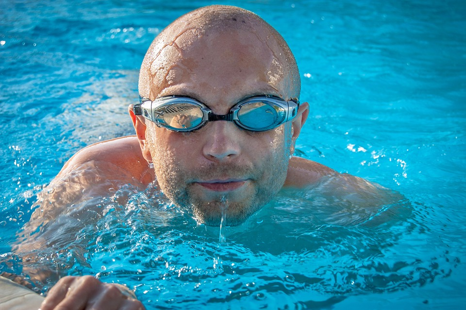 swim fitness man with goggles