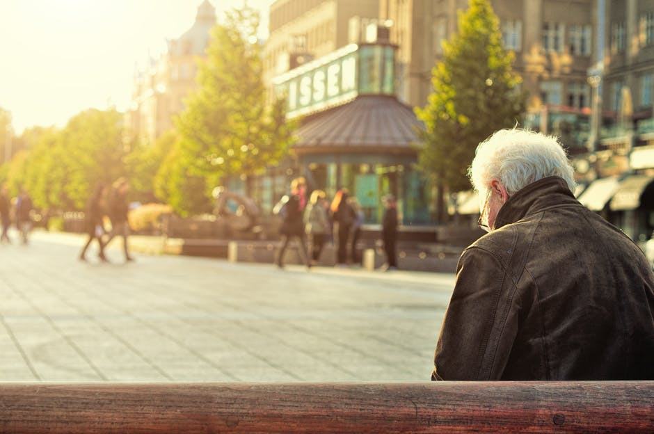 Hip Replacement elderly man on bench