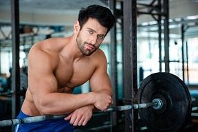 Weightlifting man shirtless weights