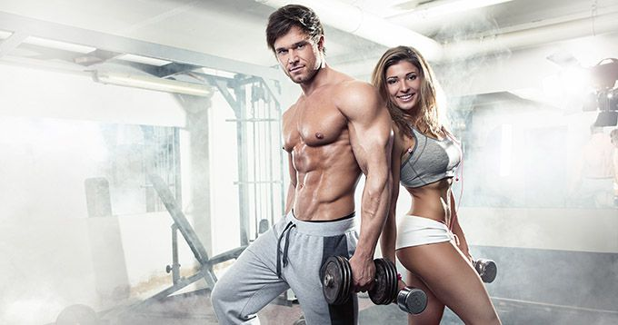 Whey Protein fitness couple ripped