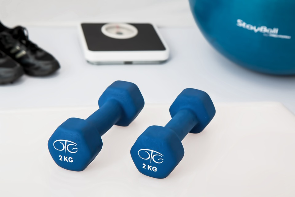 Weight Loss blue dumbbells