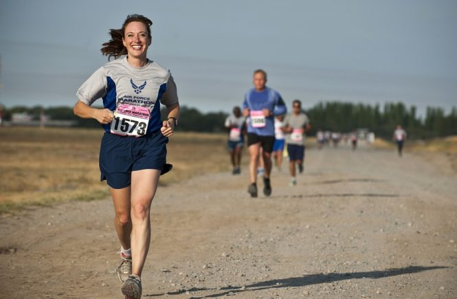 cardio woman running for goals