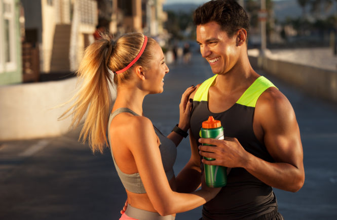 couple fitness water bottle man