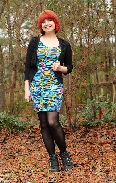 look slim woman in dress