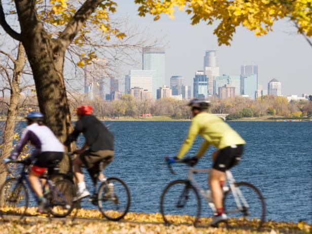 cycling along city park lake