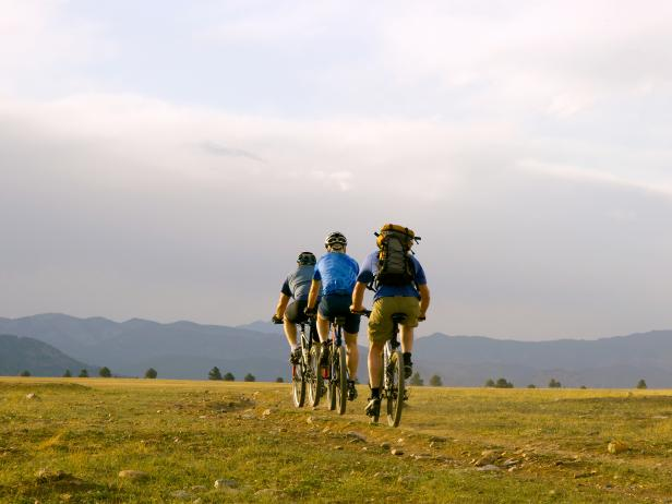 cycling along mountain ridge