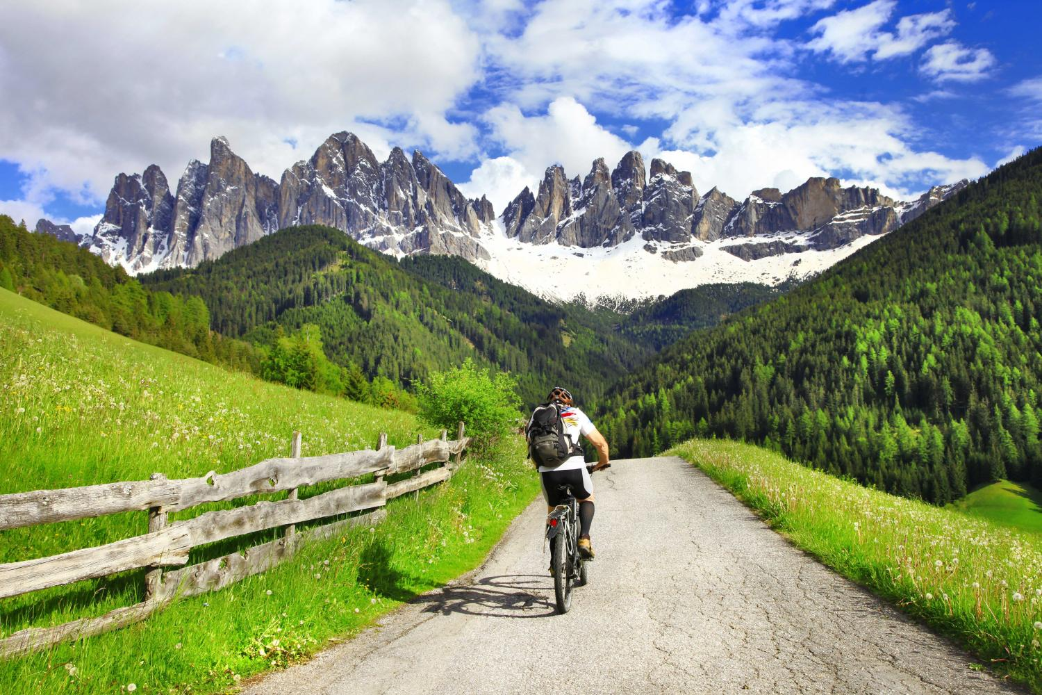 cycling on bike path in the mountains