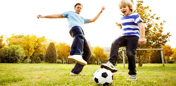 Exercise kids playing with soccer ball