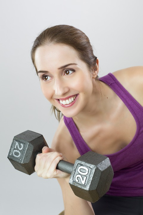 woman dumbbell happy weights