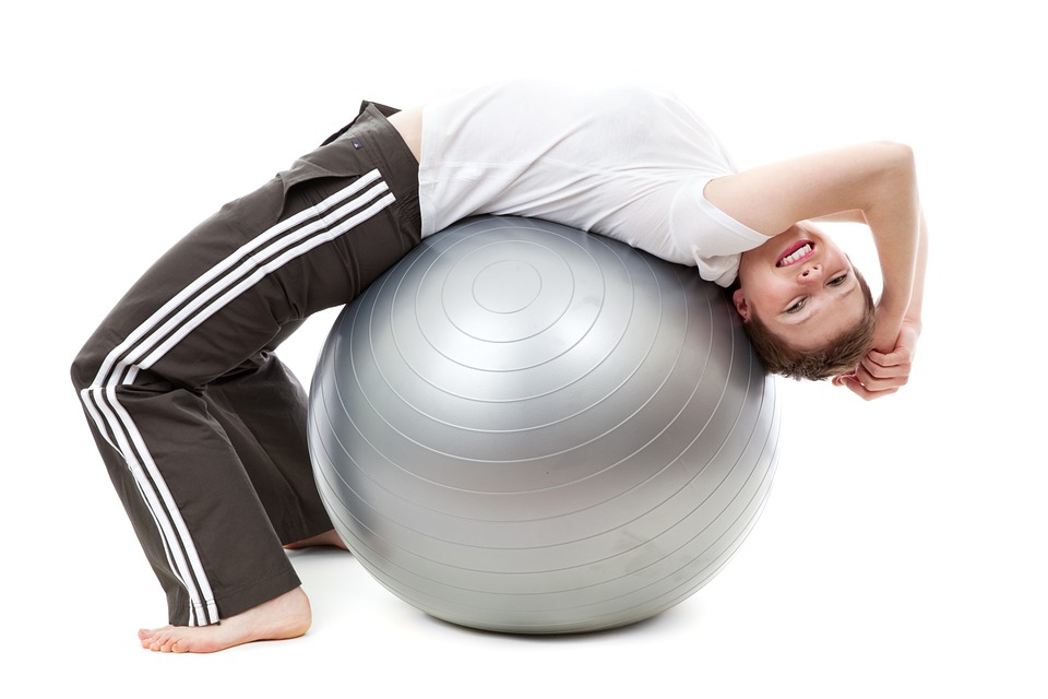 woman on swiss ball