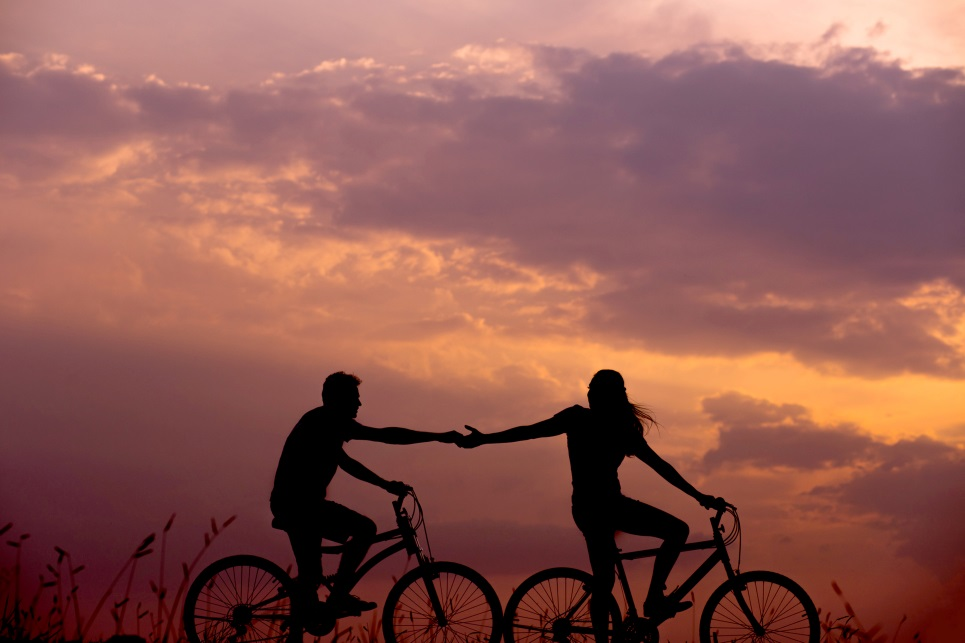 Couples training on bikes together