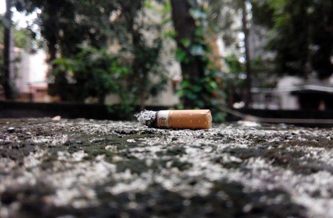 Bad Habit cigarette crushed on ground
