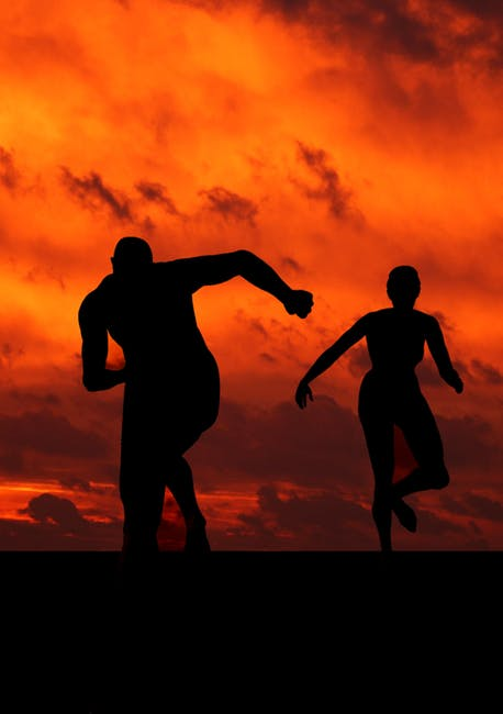 Exercise running in sunset