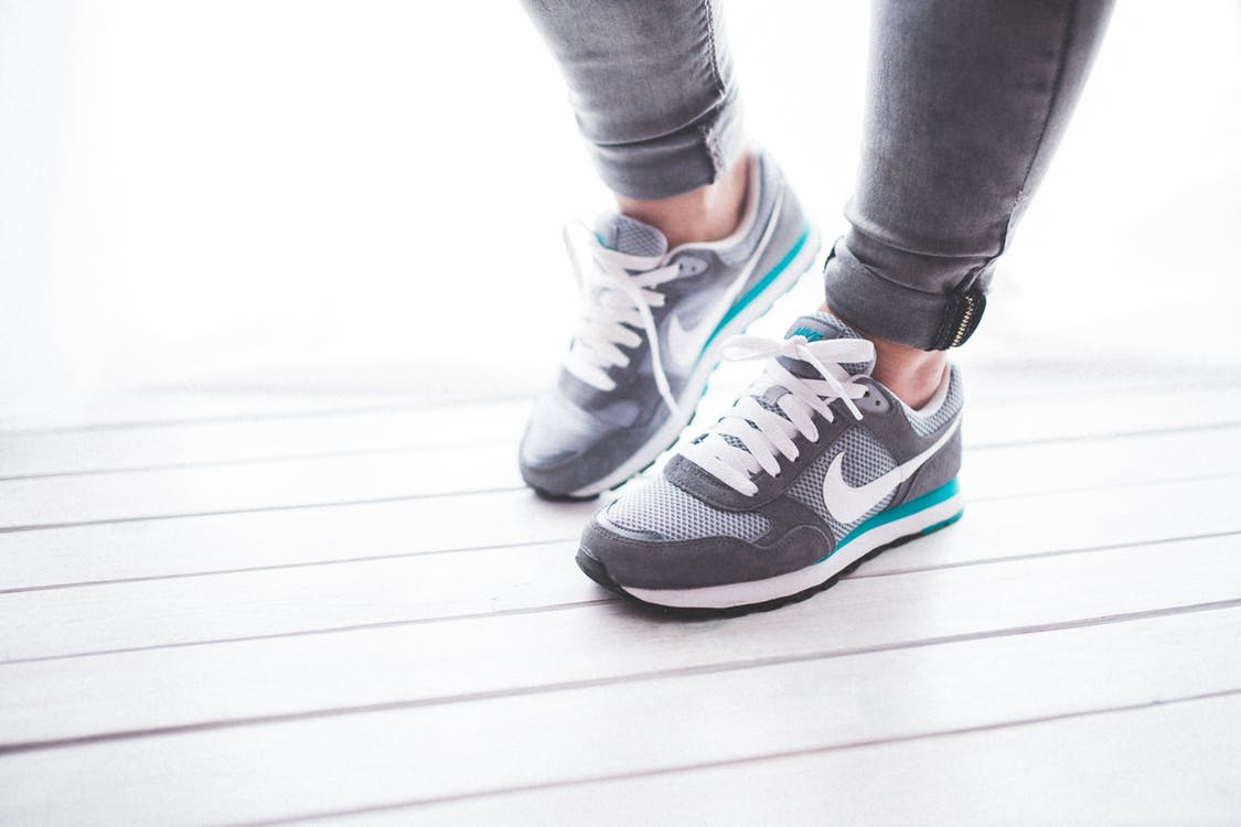 Running shoes on feet