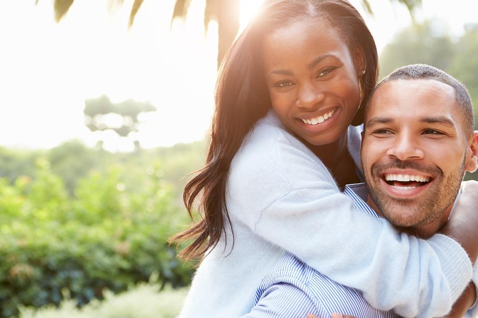 Diet happy woman hugging man