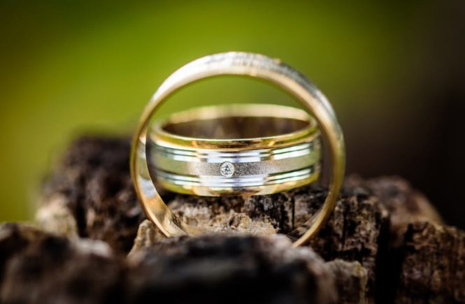 Wedding Band for men displayed