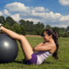 Belly Fat situps with swiss ball outside