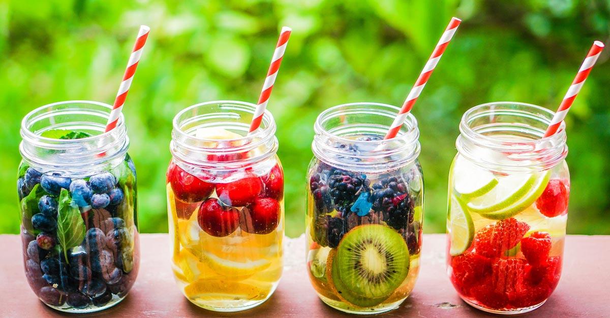 Detox Drinks berries on top of mason jar