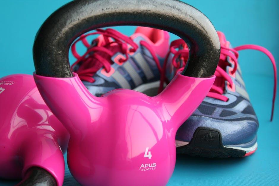 Fitness pink kettlebells