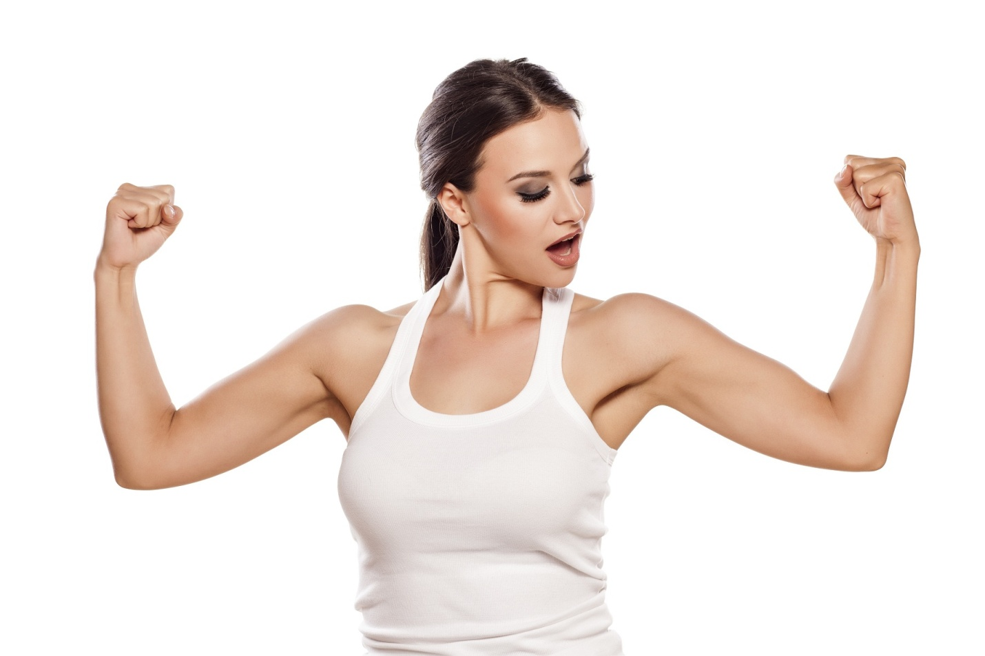 dumbbells woman flexing muscles