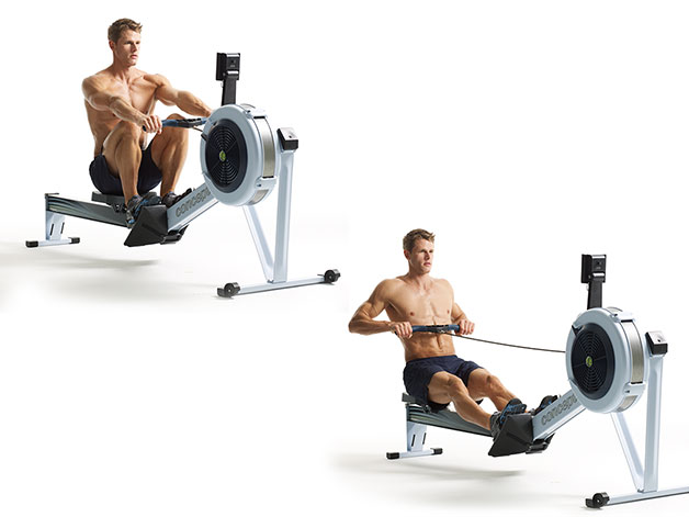 Rowing Machine man with shirt off