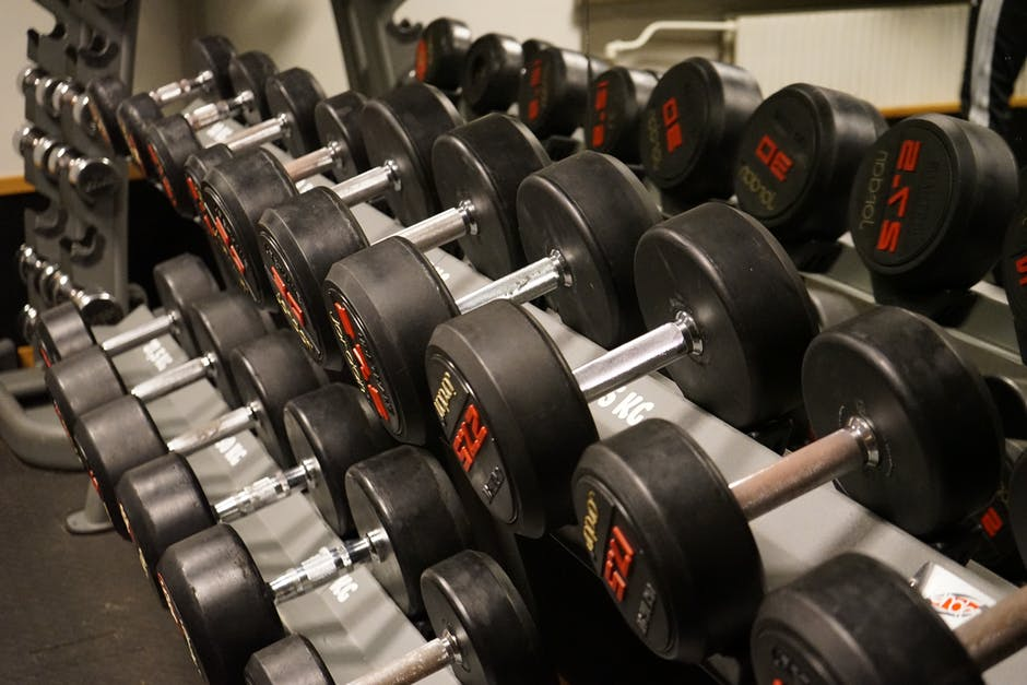 dumbbells on rack for fitness dream job