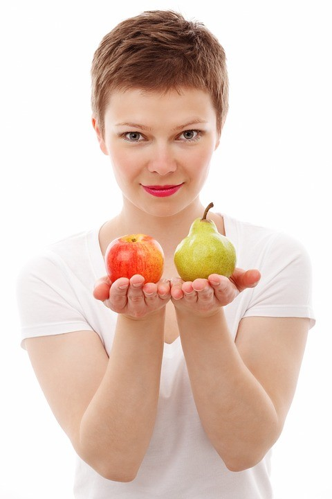 School Healthy lady with fruit