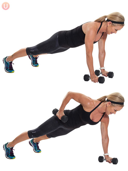 30-Minute Dumbbell Workout Program To Build Muscle woman planking