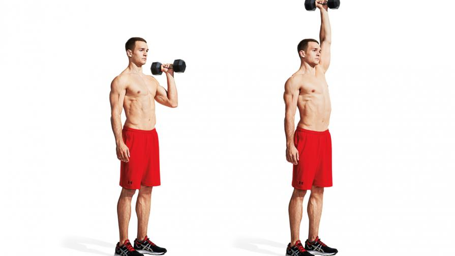 30-Minute Dumbbell Workout Program To Build Muscle man standard shoulder press